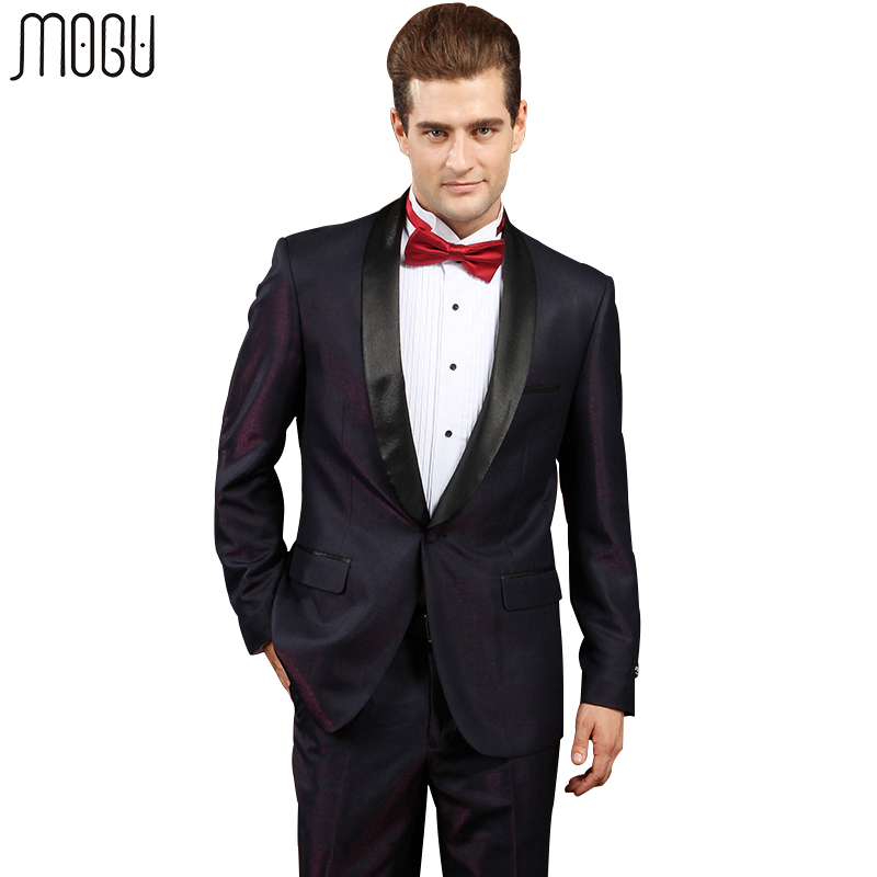 MOGU Two Piece Mens Wedding Suits 2017 New Arrival Fashion Gradual Change Formal Slim Fit Suits For Men Asian Size 4XL Men Suits