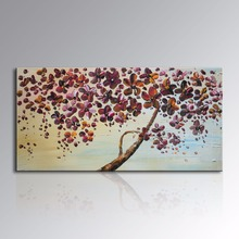 Framed Hand Painted Abstract Art Purple Flower Oil painting on Canvas Modern Wall Decor Tree Artwork