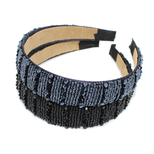 New Fashion Handmade Navy Crystal Bead Hairband Wide Beaded Headband Black Rhinestone Hair Accessories For Women Girls(China)