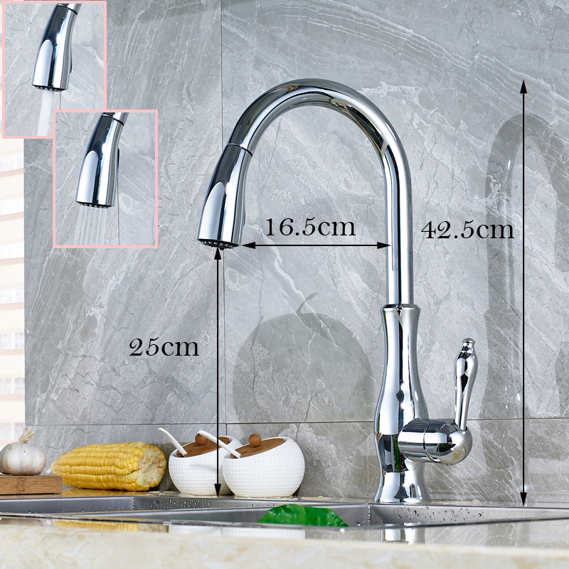 Polished Chrome Single Lever Kitchen Sink Taps Pull Out Two Sprayer Nozzle Rotation Kitchen Faucet<br><br>Aliexpress