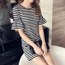 Every day special offer midi striped horn sleeve dress female hip pockets all-match backing  ladies