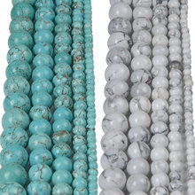 Wholesale 4 6 8 10 12 Natural Stone Green Beads White Howlite Beads For Making DIY Bracelet Necklace Jewelry(China)