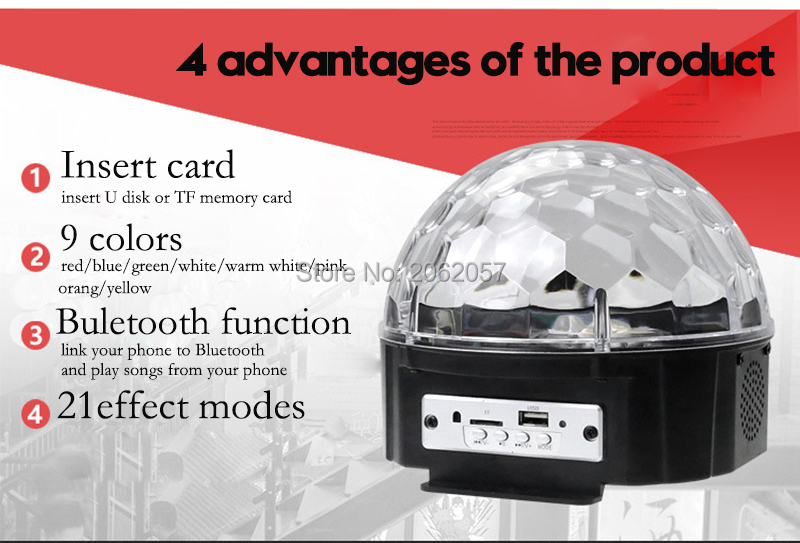 fast shipping Disco ball 256 carfacetadoras lens crystal ball wireless bluetooth projectors for christmas dj wedding party rotating laser light (2)