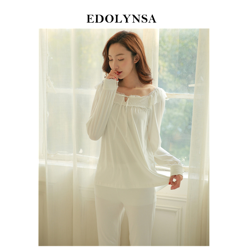 Pyjamas For Women 2019 Solid Pajama Sets Cotton Women Comfortable Home Wear Long Sleeve Sleepwear Vintage Indoor Clothing #H325