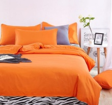 Clearence  3pcs Duvet Cover set Bed Quilt Cover Queen size orange color