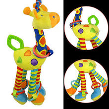 2016 Baby Toys Plush Baby Rattles Soft Baby Handing Toy 46cm Cartoon Animal Teether Rattle Early Educational Doll Giraffe(China)