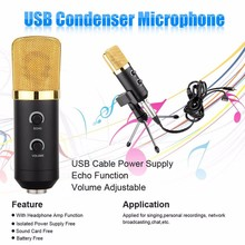 MK - F100TL USB Condenser Studio Sound Recording Microphone with Stand for Radio Braodcasting Chatting Singing Skype Recording