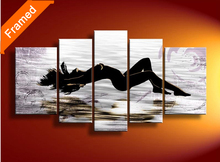 Framed oil painting Five panels stretched ready to hang modern woman nude oil paintings for wall(China)