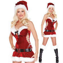 Sexy Ladies Santa Claus Womens Miss Xmas Fancy Dress Christmas Party Costume Red & White