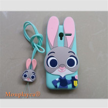 Cute cartoon Zootopia Judy Bunny soft silicone back cover cases for Alcatel One Touch Pixi 3 4027X 4027D Cell phone case + Strap