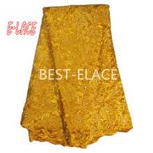 High Quality African Lace Fabric Net 2017 French Lace Fabric Tulle With pearl Gold Nigerian Lace Fabric For Wedding130d