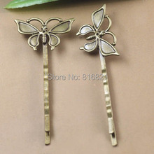 15x28mm Blank Bobby Pins Bases Settings Butterfly pads Hair Clip Hairpins Crafts DIY Findings antique bronze tone