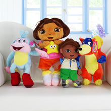 4pcs/set Girl & Boots Monkey & Swiper Fox & Go Diego Go Cartoon Plush Soft Toy Dolls Gift for Children