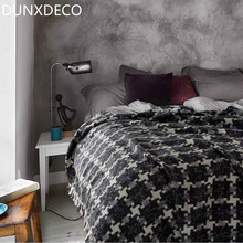 DUNXDECO 150x200CM Modern Chic Beauty Nordic Vintage White Black Check Wool Blanket Sofa Throw Winter Small Bedding Photo Prop