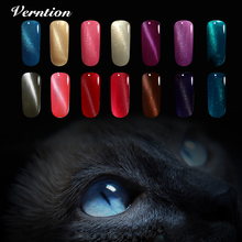 Verntion 3D Metallic Varnish lacquer Manicure UV/LED Gel Nail Chameleon Magnet 3d Cat Eye Gold Soak off Home paint Nail Art