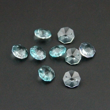 Glass Lighting Part 14mm 2000pcs Lt Aquamarine Crystal Octagon Beadscrystal Pendants For Chandeliers For Wedding Curtains DIY(China)