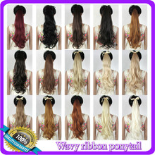 "22""(55cm) 90g body wave ribbon ponytail hairpiece hair pieces clip in hair extensions 30 colors available"