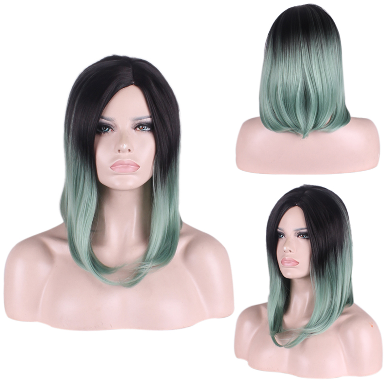 Fashion Charm Women High Quality Black Mixed Green Gradient Synthetic BoB Wigs Short Two Tone Gradient Wig Free wig cap<br><br>Aliexpress