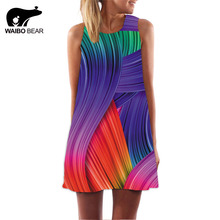 Beach dress Women 2017 Casual Chiffon O-Neck Colours Personality Print Sleeveless Party Club Tank Mini Dress Vestidos WAIBO BEAR