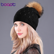 [boapt] diamond crystal double-deck knited rabbit hats women's winter cap female hat natural raccoon fur pompons caps beanies(China)