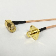 Reverse RP SMA male right angle to RP SMA female 4-hole panel pigtail cable RG316 15cm for WIFI antenna(China)