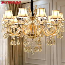Modern Luxury Crystal Chandelier Lighting For Living Room European lustre para with shade Indoor Pendant Lamp Home Decorative(China)