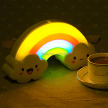 Rainbow Sound Voice Motion Auto Sensor Control LED Rainbow Night Light RGB Multicolor Lamps for Baby Bedroom Table Wall Sticker