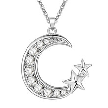 11.11  Deal Promotion silver Fashion Moon Star Necklace Women Party CYPRIS women men lady gift chic novel fancy Fine jewelry