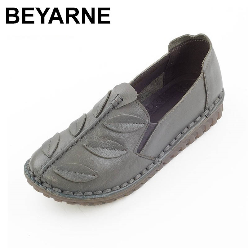 BEYARNE Shoes Woman Genuine Leather Shoes Handmade Flats Casual Comfort Soft bottom Loafers Slip On Womens Flat Shoes <br>