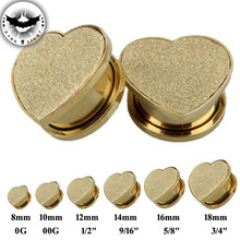 Pair  Screw Heart Shape  Ear Tunnels Plugs Ear Gauges Reamer Stainless Steel ear expander Body Piercing Jewelry 8-18mm