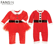 FANSIN Brand Newborn Boy Christmas Santa Costume Girl Dress Long Sleeve Romper+ Hat 2Pcs Outfit Set Baby Clothes Kid Jumpsuit(China)
