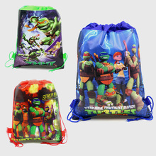 3 colors teenage ninja turtles theme cartoon non-woven bags fabrics child drawstring backpack kid boy girl favors Gift bag Decor(China)