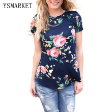 2017 Navy Floral Print Women T-Shirts Short Sleeve Summer Casual Slim TShirts Girls Graphic Tees O Neck T Shirt Clothes e250067