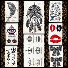 Hot Sexy Lady Body Art Flash Temporary Tattoo Sticker AYF09 Cute King Queen Crown Heart Waterproof Tattoo Arm Hand Finger Makeup(China)