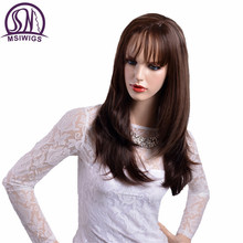 MSIWIGS Natural Long Ombre Wigs for Women High Temperature Fiber Straight Two Colors Brown Wig with Bangs