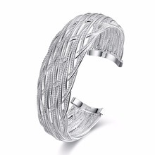 Free Shipping 2017 Lovely High-quality 925 stamped silver plated bangles Big Web women bracelet fashion jewelry Bijoux(China)