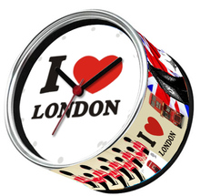 Free Shipping To I LOVE LONDON 2pcs/lot Packed UK City Kitchen Fridge Magnets Aluminum Can Wall Clocks,Metal Tin Desk Clocks