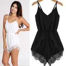 Free Shipping Women Sleeveless Backless V Neck Slim Sexy Casual High Waist Floral Loose Lace Short Jumpsuit Rompers White Black