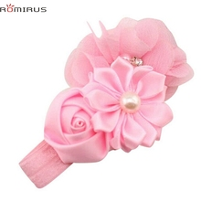 ROMIRUS Modern 2017 Baby Girl Hair Accessories Headband Pearl Flower Toddle Infant Newborn Hair Bands Photography Props bb E49