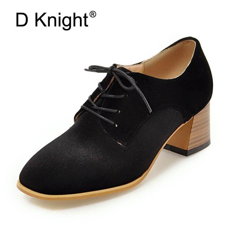 D Knight Women Pumps Fashion Plus Size 33-43 Square Toe Strange High Heels Lace Up Office Lady Woman Shoes Black Green Purple<br>