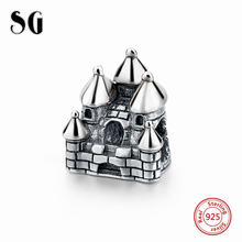 925 Sterling Sliver Charms House Building shape beads Fit Original Pandora Bracelet Berloques Authentic pendant Jewelry Gift