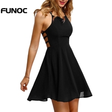 Buy 2018 Summer Elegant Party Dress Women Sexy Backless Bandage Chiffon Dress Ladies Sleeveless Halter Line Mini Dresses vestidos