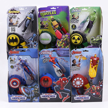 The Flying Heroes Batman Spiderman Captain America Iron Man Hulk Raph PVC Action Figure Hand Launcher Flying Machine 6pcs/lot