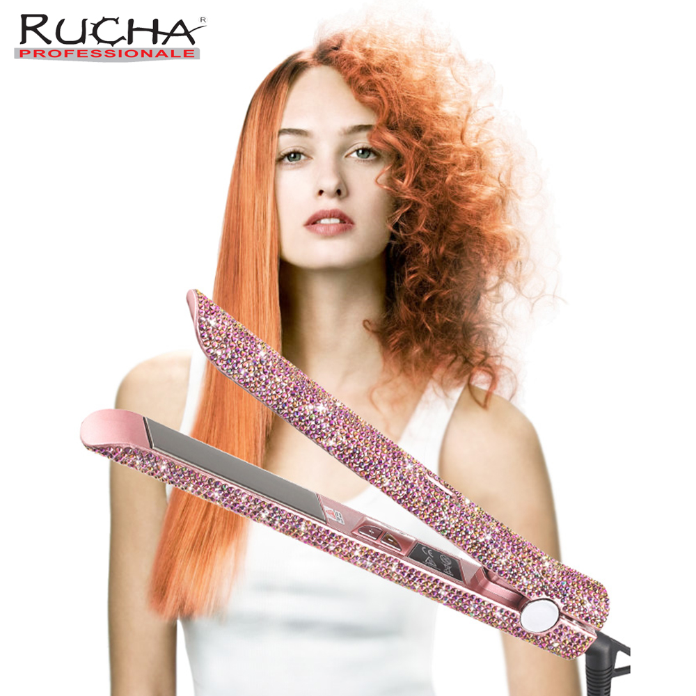 RUCHA crystal diamonds hair straightener bling MCH keratin irons