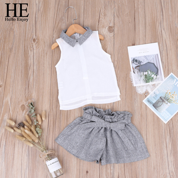 HE-Hello-Enjoy-2019-Kids-Girls-Clothes-Set-Summer-Chiffon-Sleeveless-Tops-Bow-Shorts-2pcs-Suits/32861602563