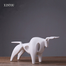 XINTOU Abstract Resin Lucky Cow Statues Sculptures Modern Stock Market Cattle Figurine Ornament Home Soft furnituring Decoration(China)