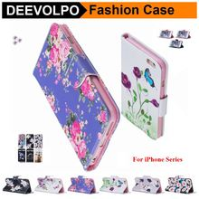 DEEVOLPO Leather Pattern Phone Bags For Apple iPhone 5 5S SE 6 6S 7 8 Plus Magnetic Book Retro Cases For iPod Touch 6 or 5 DP07H(China)