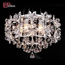 flower design LED crystal lamp chandelier modern chrome hannging light dinning room bedroom lighting fixtures E14 LED bulb(China)