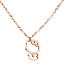 Martick 316L Stainless Steel Gold-color Cute Cat Pendant Necklace Link Chain Necklace Rose Gold Fashion Jewelry For Women P66(China)