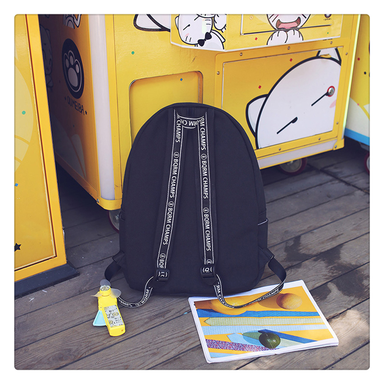 School Bag Wemen Korean Style Harajuku Ulzzang High School Student Fashion Popular Joker Backpack Canvas Simple Preppy Style04